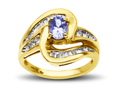 1/5 ct Tanzanite and 1/3 ct Diamond Ring in 10K Gold