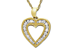 1/3 ct Diamond Heart Pendant Necklace in 10K Gold from Jewelry. com
