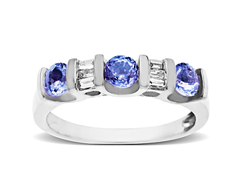 Tanzanite and 1/8 ct Diamond Ring in 10K White Gold