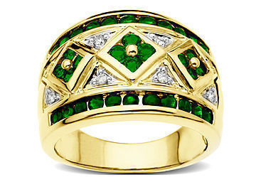 Emerald Ring in 10K Gold with Diamonds