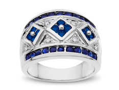Sapphire Ring in 10K White Gold with Diamonds
