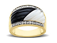 Onyx and Mother of Pearl Ring with Diamonds in 10K Gold