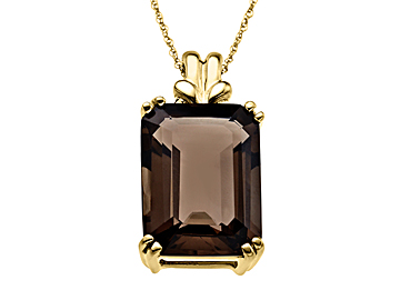 Smokey Quartz Pendant Necklace in 10K Gold from Jewelry.com