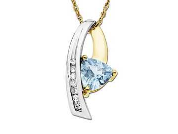 Aquamarine Pendant Necklace in Two-Tone 10K Gold with Diamonds from Jewelry. com