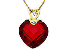 Ruby Pendant in 10K Gold with Diamonds