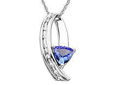 Tanzanite Pendant in 10K White Gold with Diamonds