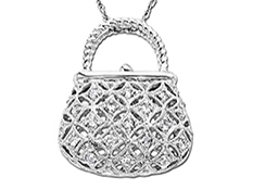 1/4 ct Diamond Purse Pendant in 10K White Gold