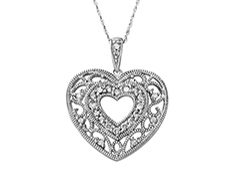 1/3 ct Diamond Heart Pendant in 10K White Gold