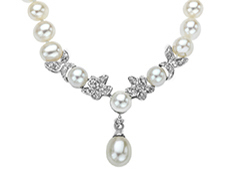 Pearl & 1/6 ct Diamond Necklace in 10K White Gold