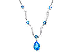 Swiss Blue Topaz Necklace with Diamonds in 10K White Gold