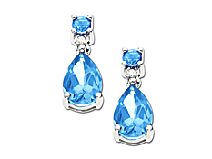 Swiss Blue Topaz Earrings in 10K White Gold with Diamond Accents