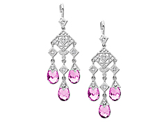Pink Sapphire Chandelier Earrings with Diamonds in 10K White Gold