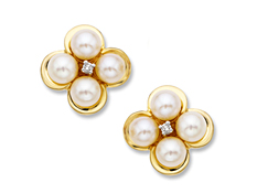 5 mm Pearl Earrings with Diamonds in 10K Gold