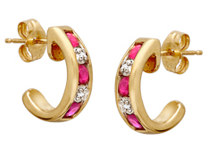 Pink Sapphire Hoop Earrings in 10K Gold with Diamonds