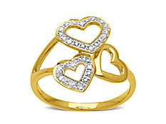 Triple Heart Ring In 10K Gold with Diamonds