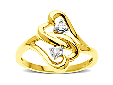 Duo Heart Ring with Diamonds in 10K Gold