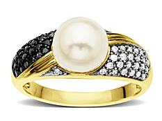 Pearl and 1/4 ct Black and White Diamond Ring in 10K Gold
