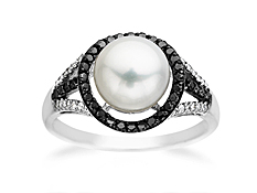 Freshwater Pearl and 1/4 ct Black & White Diamond Ring in 10K White Gold