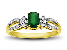 Emerald and Diamond Ring in 10K Gold