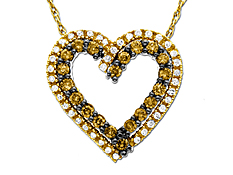 1/2 ct Champagne and White Diamond Heart Pendant in 10K Gold