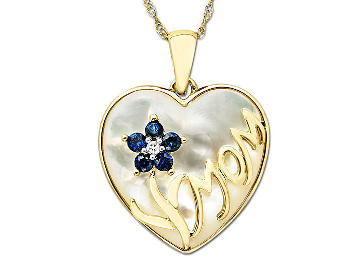 Mother-of-Pearl 'Mom' Pendant Necklace in 10K Gold with Diamonds and Sapphires from Jewelry.com