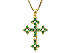 Emerald Cross Pendant with Diamonds in 10K Gold