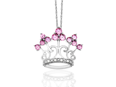 Pink Sapphire Crown Pendant in 10K White Gold with Diamonds