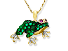 Emerald Frog Pendant with Rubies and Diamonds in 10K Gold