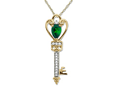 3/8 ct Emerald Key Pendant with Diamonds in 10K Gold
