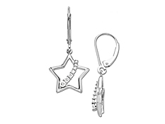 1/5 ct Diamond in 10K White Gold Star Earrings