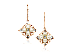 Pearl Earrings in 10K Pink Gold with Diamonds