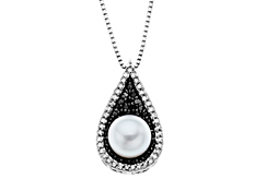 Pearl and 1/3 ct White and Black Diamond Pendant in Sterling Silver