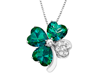 Rainforest Green and White Topaz Clover Pendant in Sterling Silver