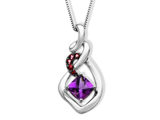 Amethyst and Pink Topaz Pendant in Sterling Silver