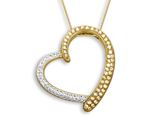 Heart Pendant with Golden and White Swarovski Crystal in 18K Gold over Sterling Silver