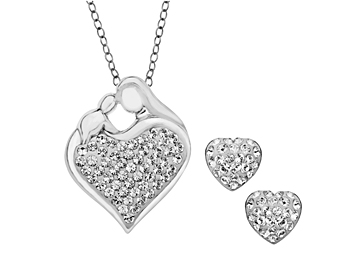 Mother's Jewel Set with White Swarovski Crystal in Sterling Silver
