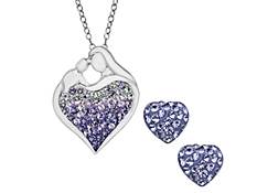 Mother's Jewel Set with Lavender Ombre Swarovski Crystal in Sterling Silver