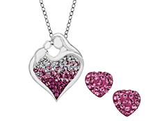Mother's Jewel Set with Rose Ombre Swarovski Crystal in Sterling Silver