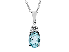 1 5/8 ct Blue Topaz and White Sapphire Pendant in Sterling Silver