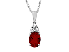 1 1/2 ct Garnet and White Sapphire Pendant in Sterling Silver