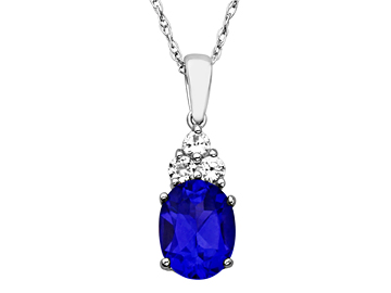 2 1/2 ct Ceylon and White Sapphire Pendant in Sterling Silver
