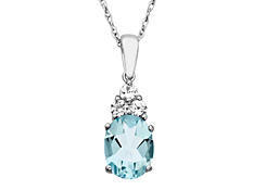 2 3/8 ct Blue Topaz and White Sapphire Pendant in Sterling Silver