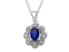 Sapphire Flower Pendant with Diamonds in Sterling Silver
