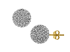 Glitter Ball Earrings with White Swarovski Crystal in 14K Gold