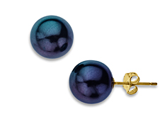 10 mm Tahitian Pearl Earrings in 14K Gold