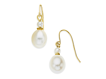 Pearl Drop Earrings in 14K Gold