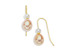 7 mm Pink and 3.5 mm White Pearl Drop Earrings in 14K Gold