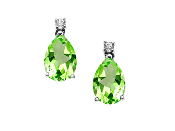 2 3/4 ct Peridot and White Sapphire Earrings in Sterling Silver