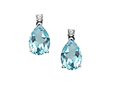 2 1/8 ct Aquamarine and White Topaz Earrings in Sterling Silver