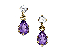 Amethyst Drop Earrings with CZ in 10K Gold